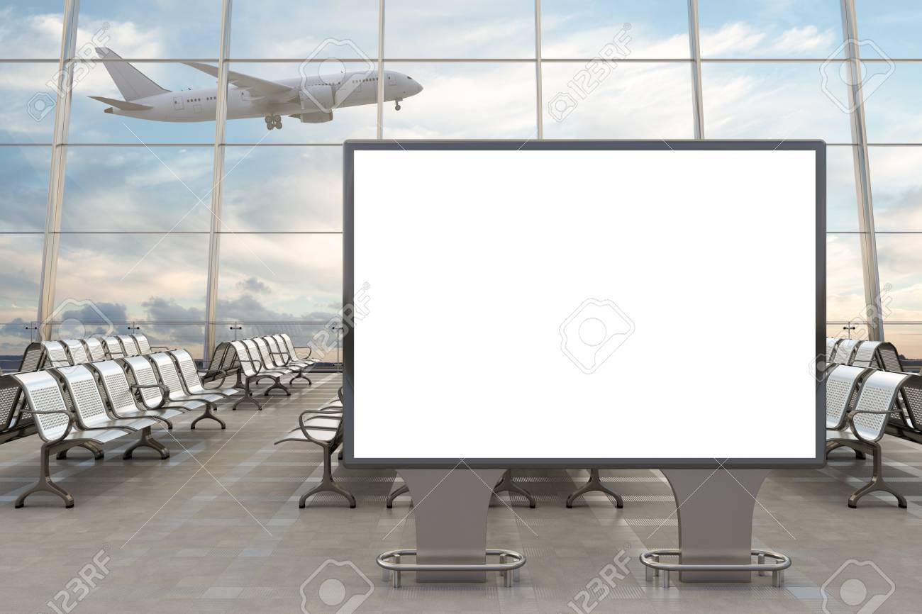 Airport departure lounge. Blank horizontal billboard stand and airplane on background. Include clipping path around advertising poster. 3d illustration - 99215672