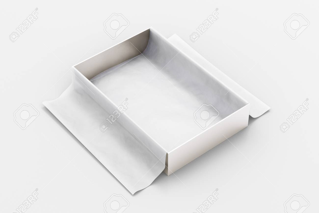 Silver Open Gift Box Mockup On White Background With Unfolded Stock Photo Picture And Royalty Free Image Image 108513144