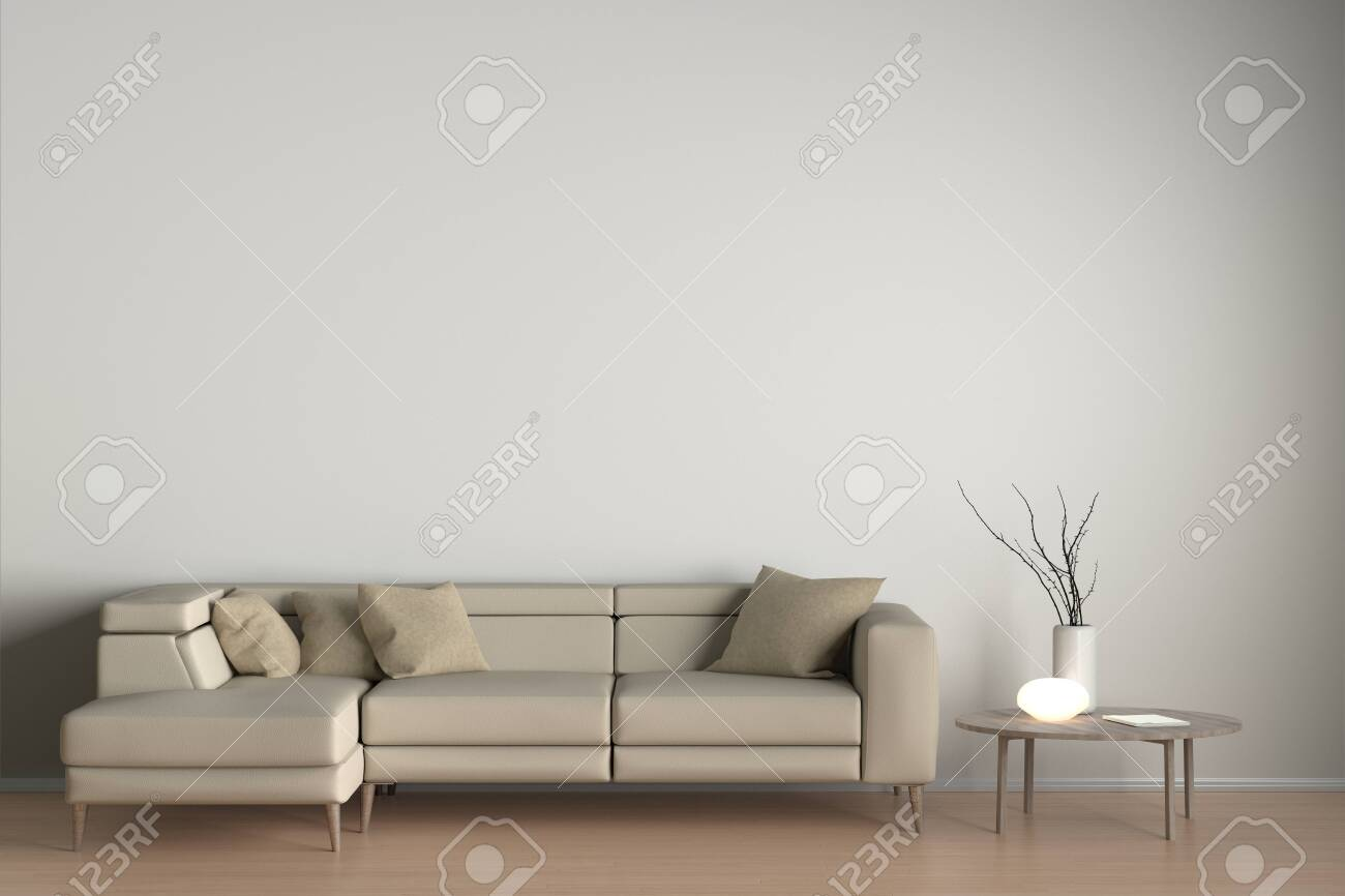 Interior Of Living Room With Beige Leather Sofa Night Lamp And Stock Photo Picture And Royalty Free Image Image 120501414