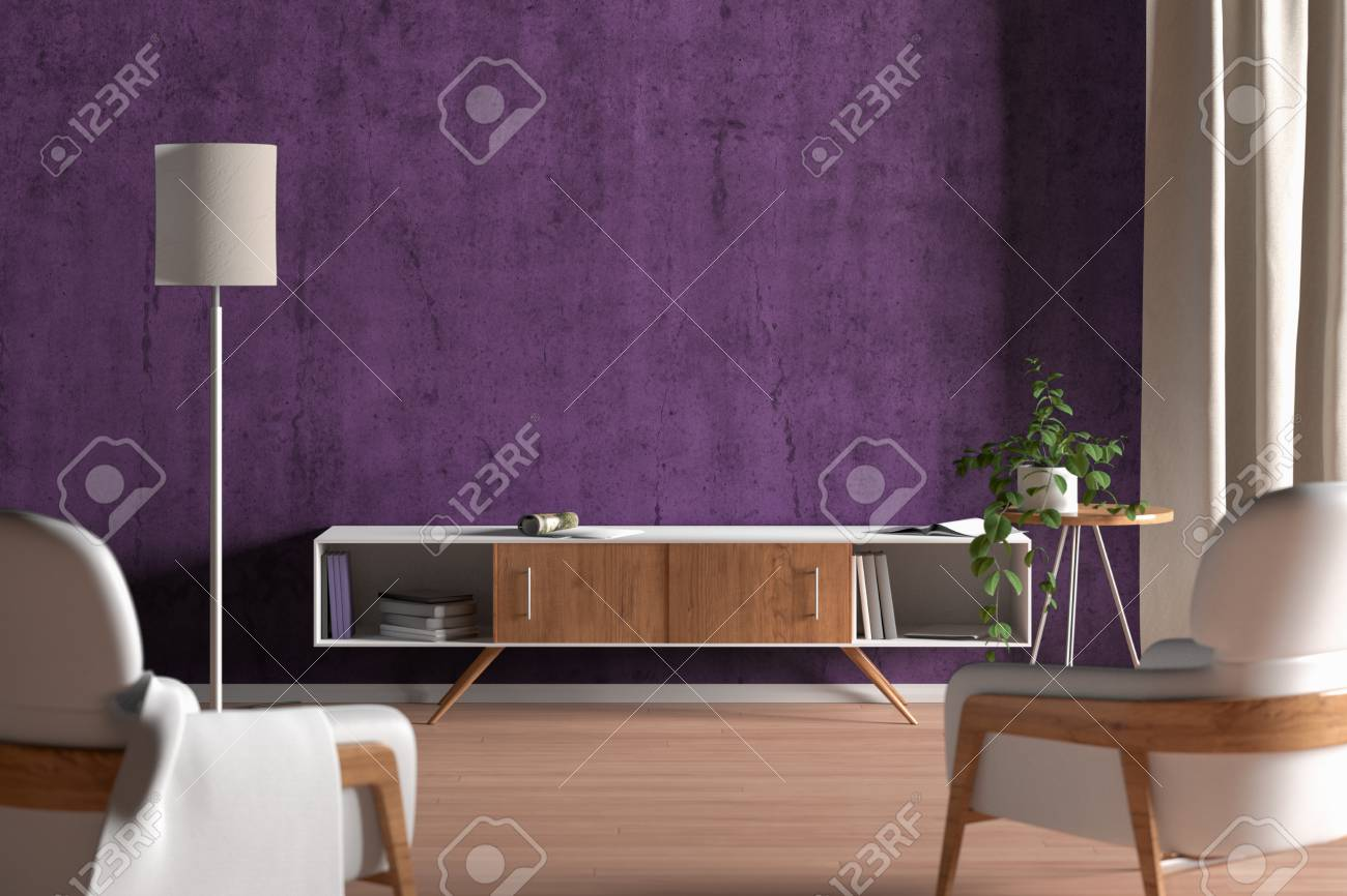 Tv Cabinet In Modern Living Room With Blank Purple Wall Background