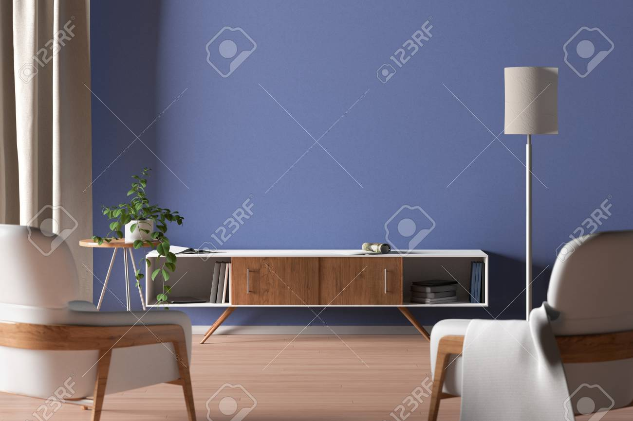 Tv Cabinet In Modern Living Room With Blank Blue Wall Background Stock Photo Picture And Royalty Free Image Image 122123550