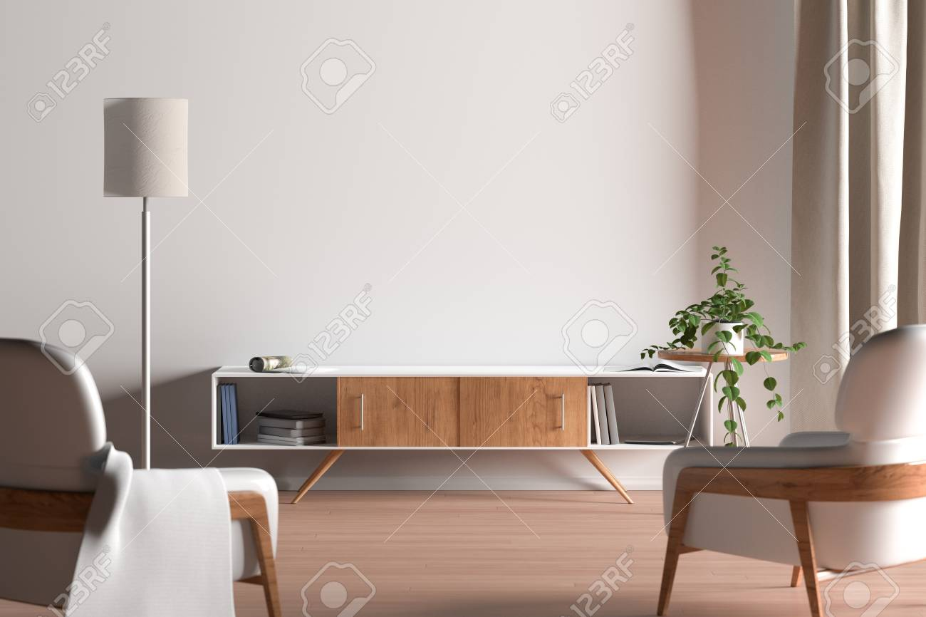 Tv Cabinet In Modern Living Room With Blank Wall Background Stock Photo Picture And Royalty Free Image Image 122123556