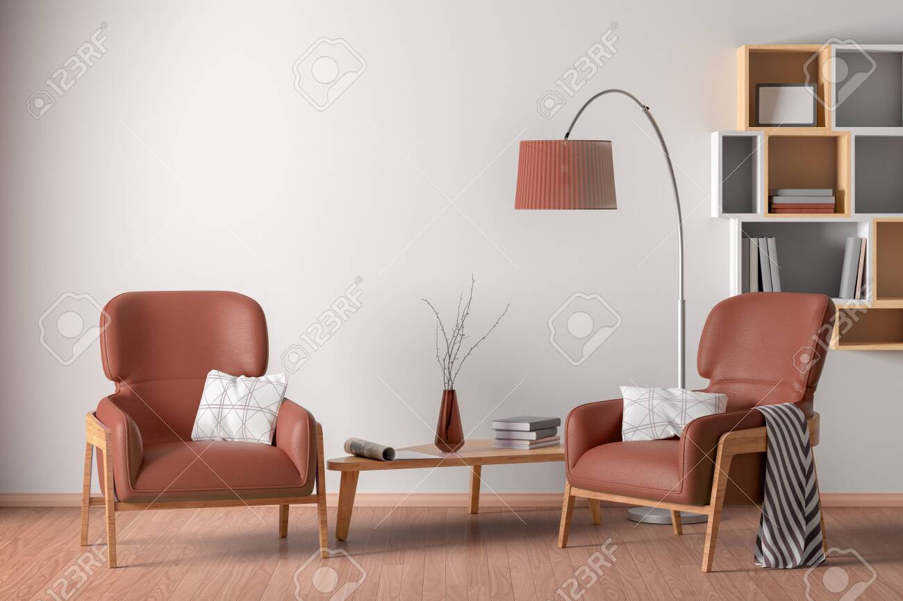 Picture of: Interior Of Living Room With Two Cozy Brown Leather Armchairs Stock Photo Picture And Royalty Free Image Image 124086675
