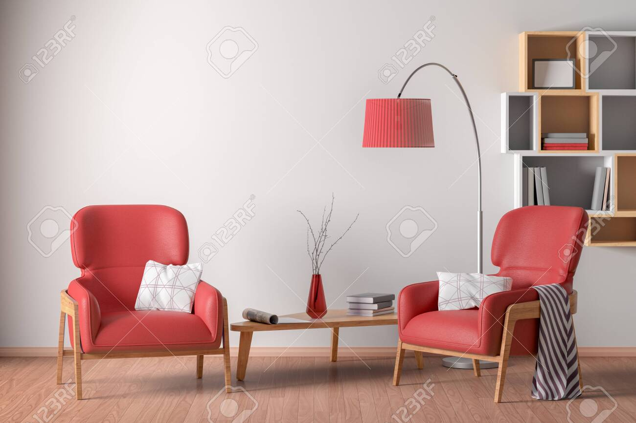Interior of living room with cozy two red leather armchairs with plaid, wooden triangular coffee table, floor lamp and bookshelf on the white wall. 3d illustration. - 124086709