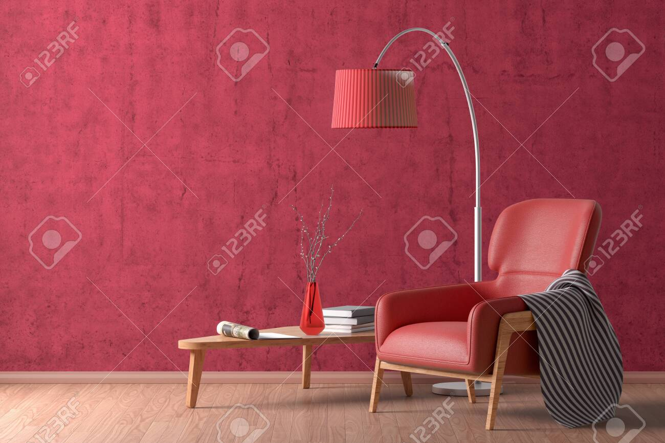 Interior Of Living Room With Cozy Red Leather Armchair With Plaid Stock Photo Picture And Royalty Free Image Image 124009506