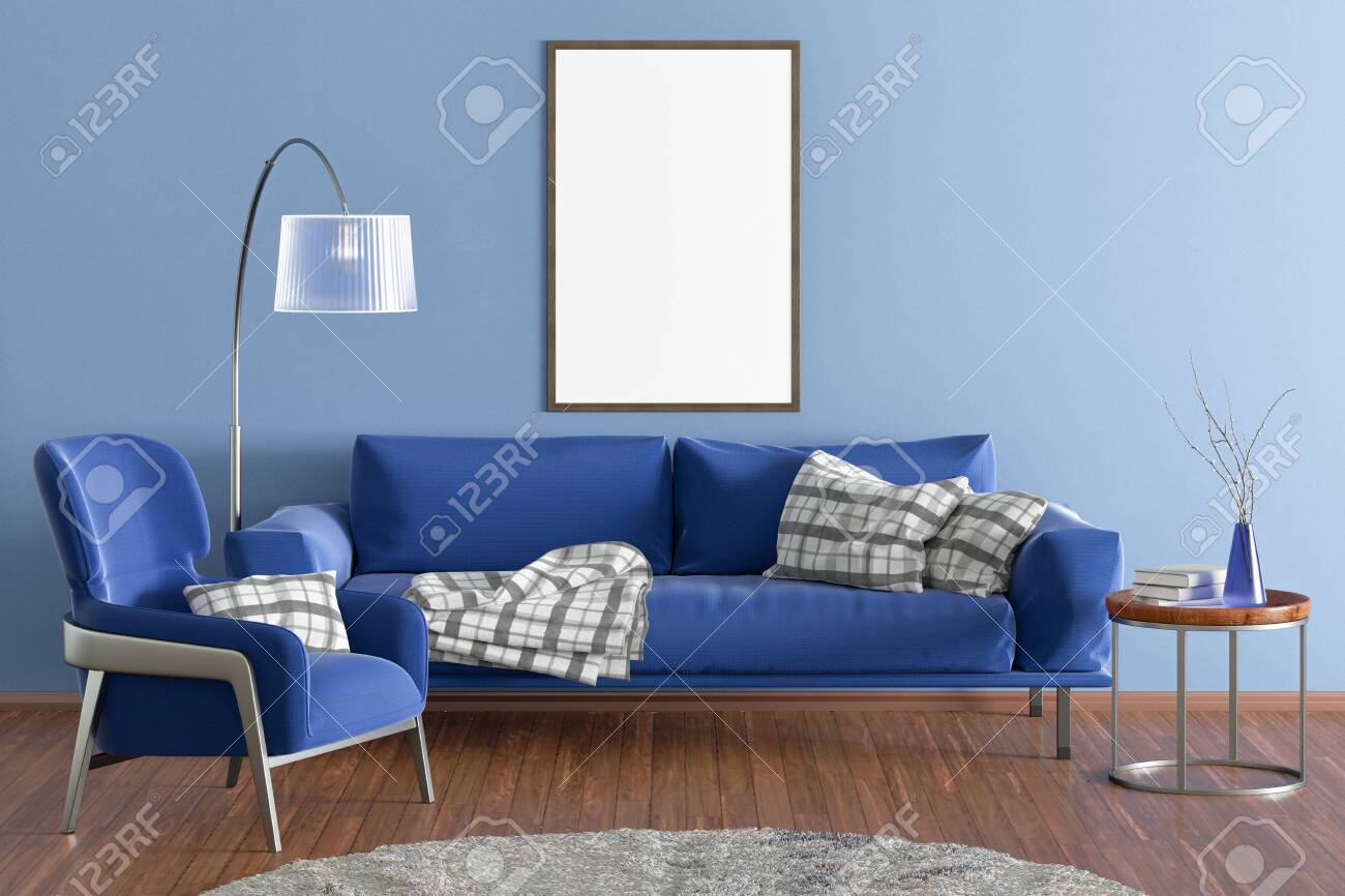Vertical Blank Poster On Blue Wall In Interior Of Modern Living Stock Photo Picture And Royalty Free Image Image 126205616