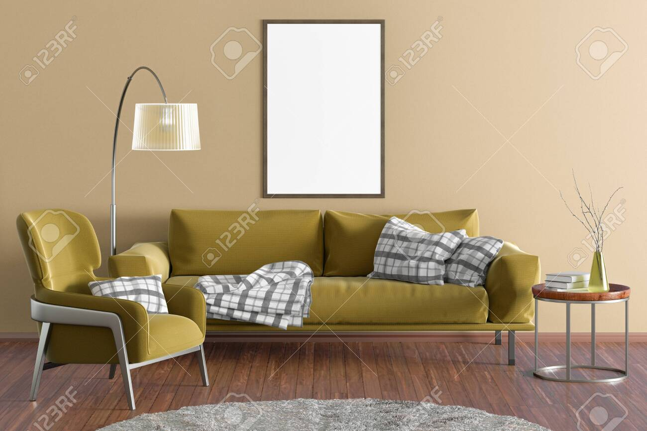 - Vertical Blank Poster On Yellow Wall In Interior Of Modern Living