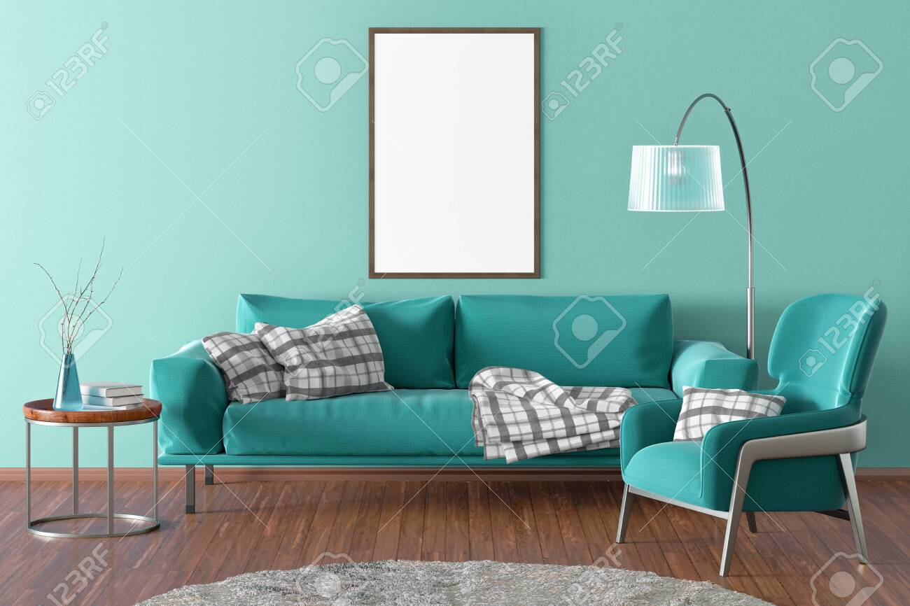 - Vertical Blank Poster On Cyan Wall In Interior Of Modern Living