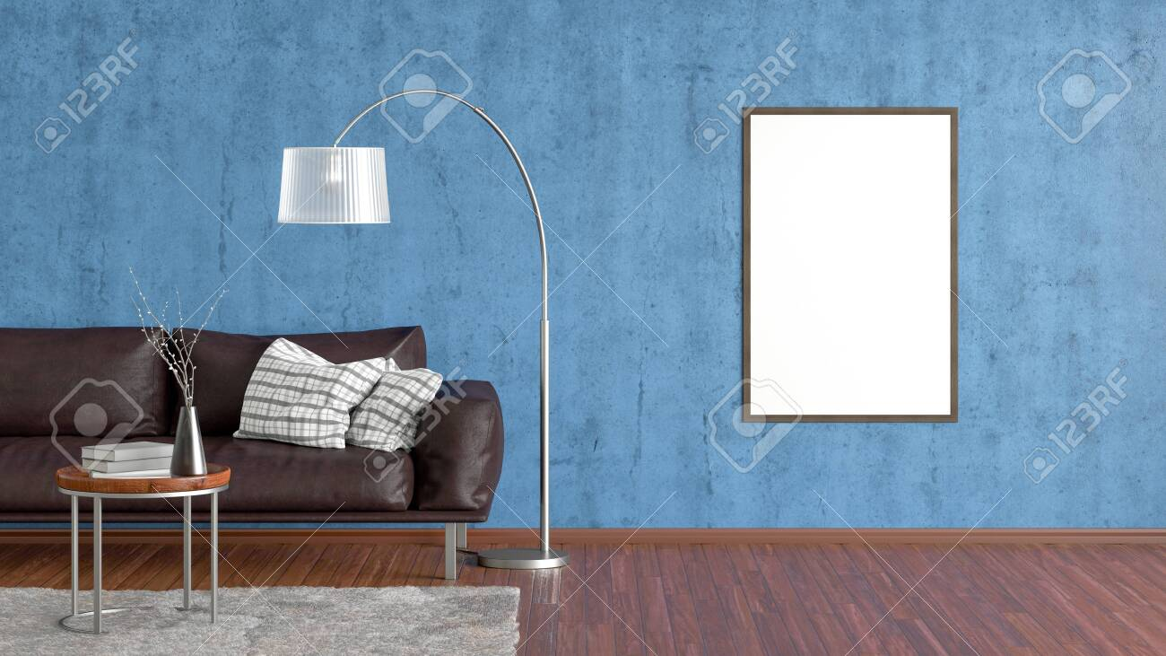 Picture of: Blank Vertical Poster On Blue Concrete Wall In Interior Of Living Stock Photo Picture And Royalty Free Image Image 127999674