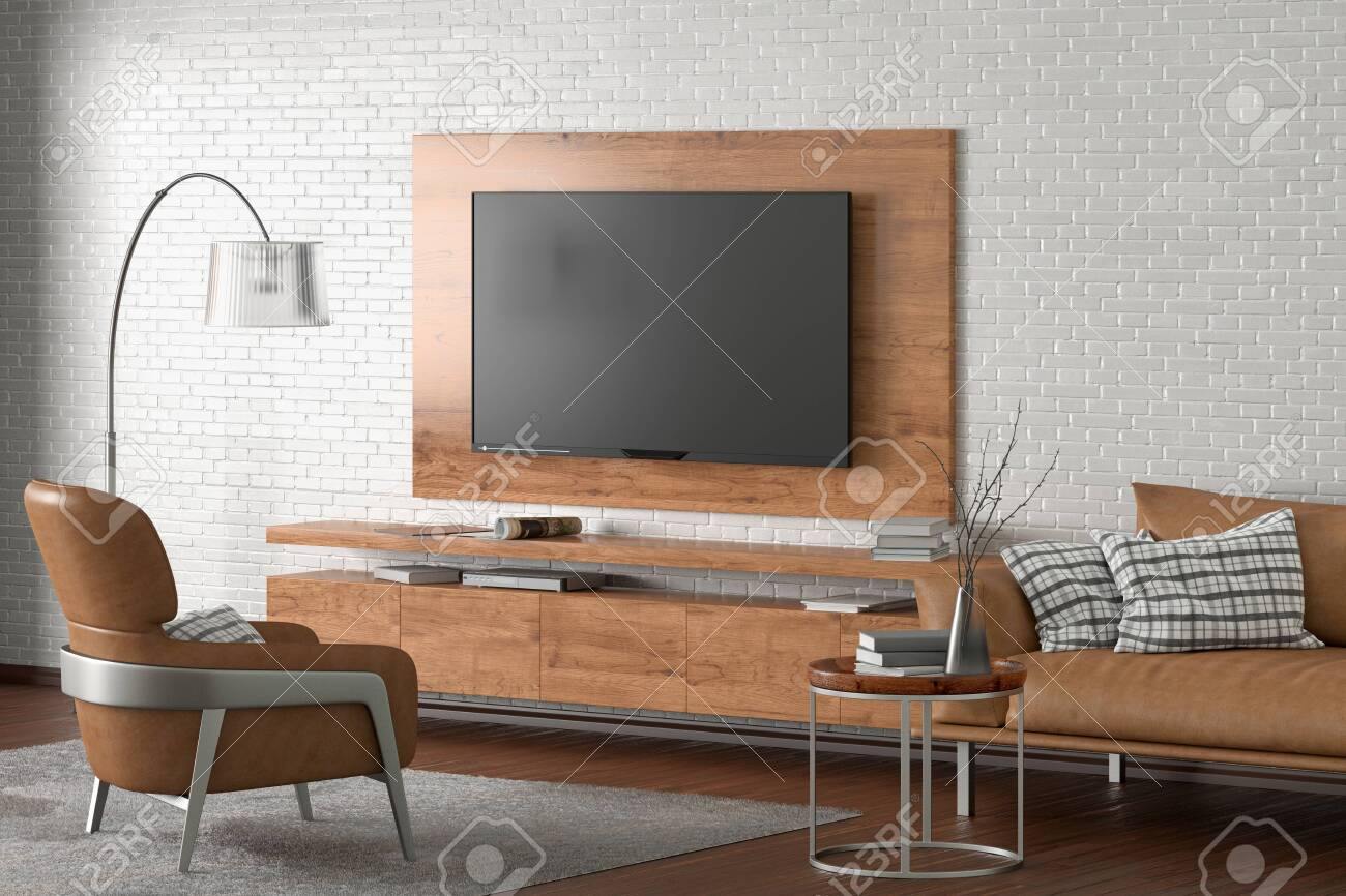 Tv On The White Brick Wall Of Modern Living Room With Brown Leather Stock Photo Picture And Royalty Free Image Image 128685476