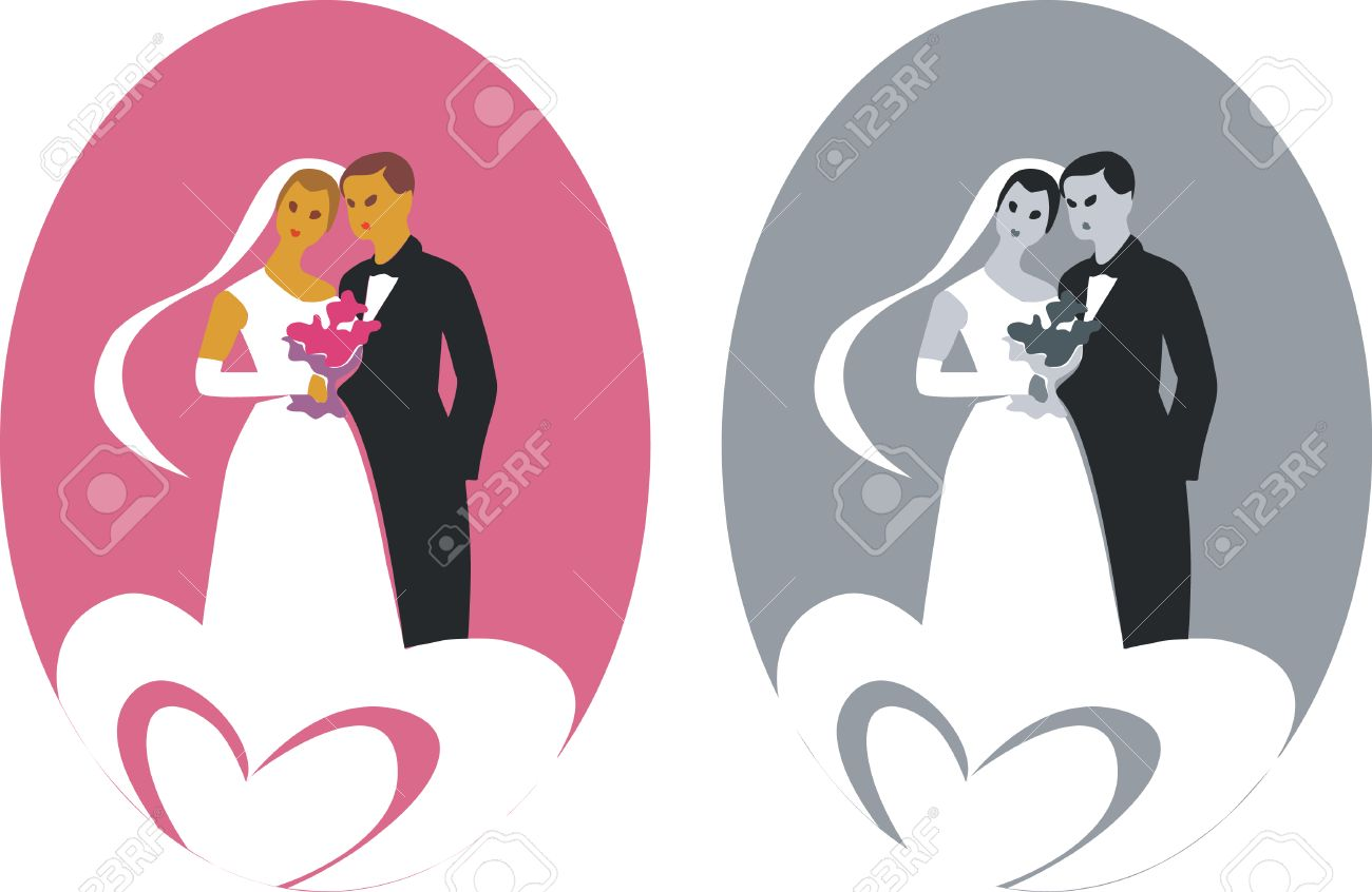 wedding couple in color 01 - 5292494