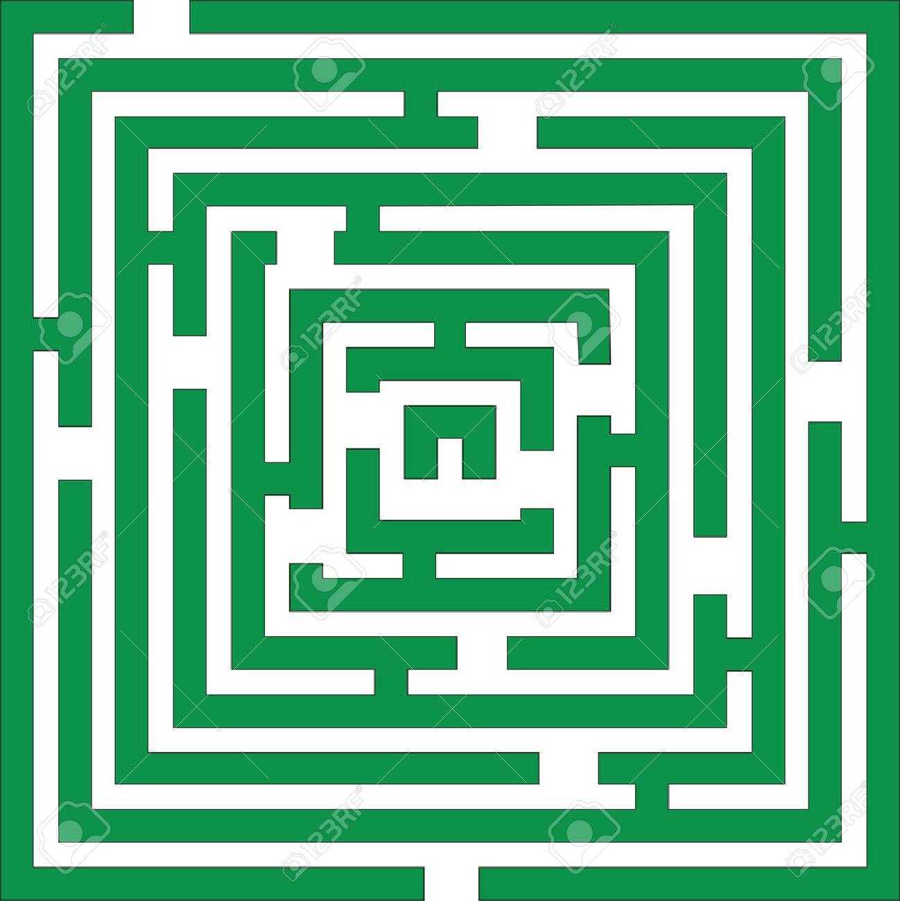 Maze 01 in green color Stock Vector - 5316488