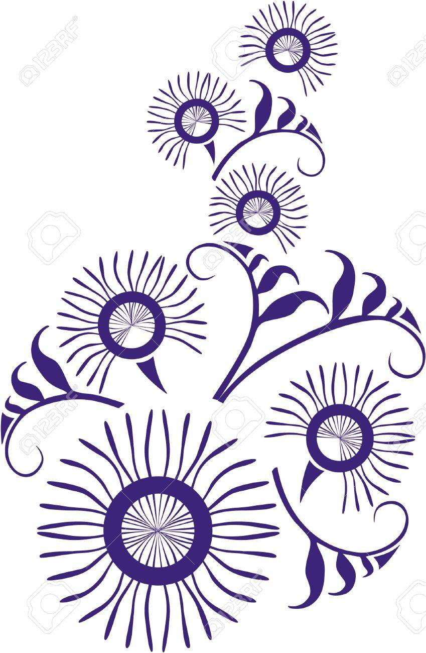 Vector. Ornament flower in color  22 Stock Vector - 5432063
