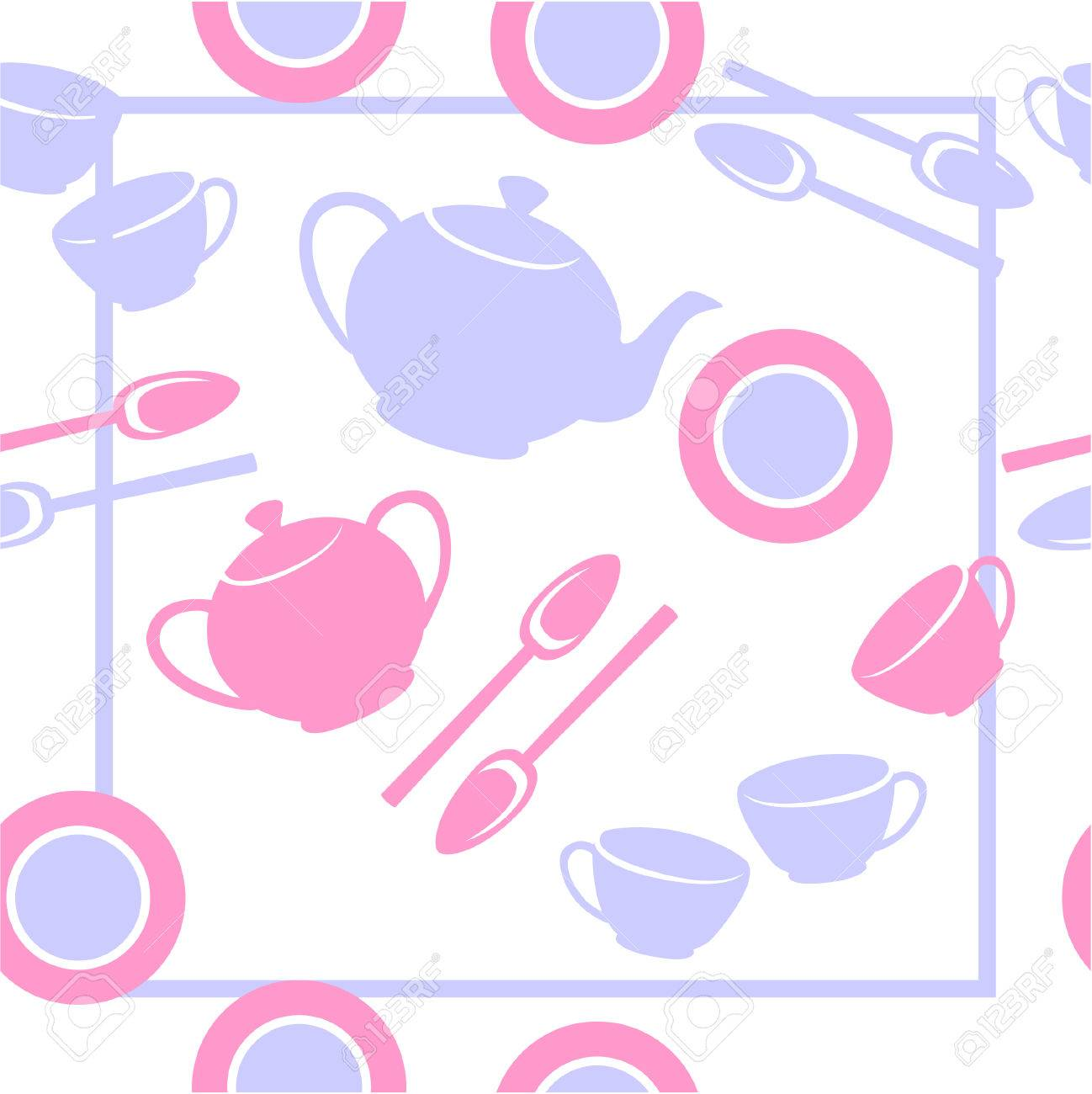 Vector. Seamless ornament with tea set  in color  23 Stock Vector - 5549834