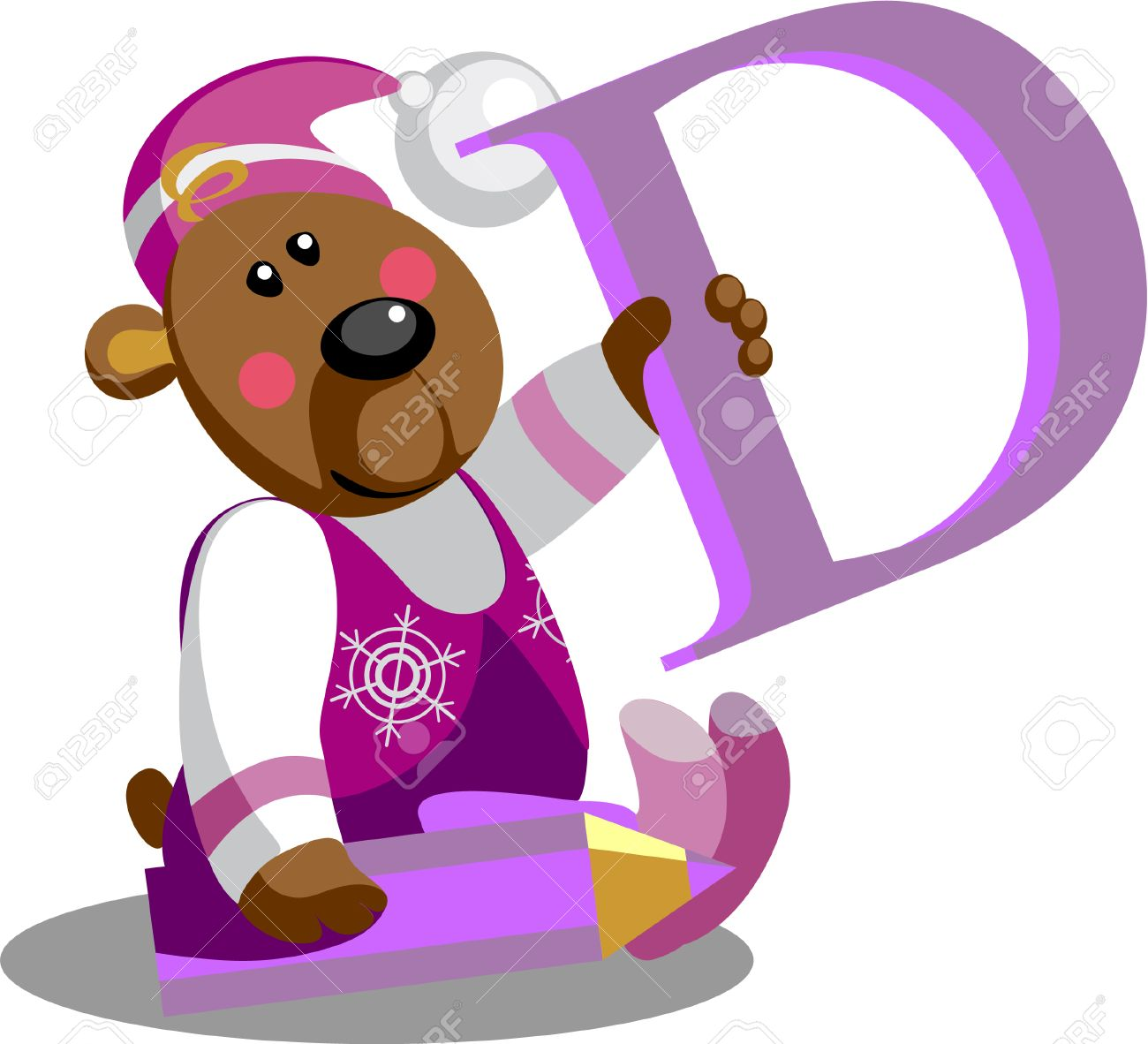Vector.Smile bear with alphabet letter D  in color 01 Stock Vector - 5865679