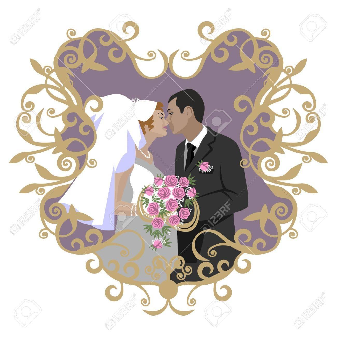 Banque dimages , Couple de mariage en couleur 09