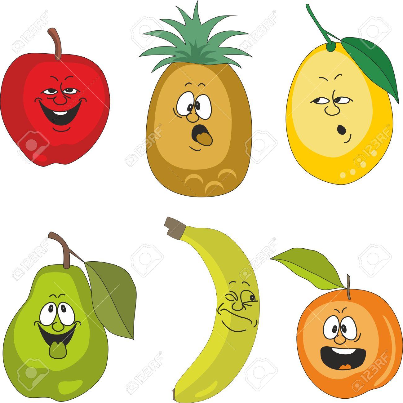 vectorial emoción dibujos animados frutas establecen 010