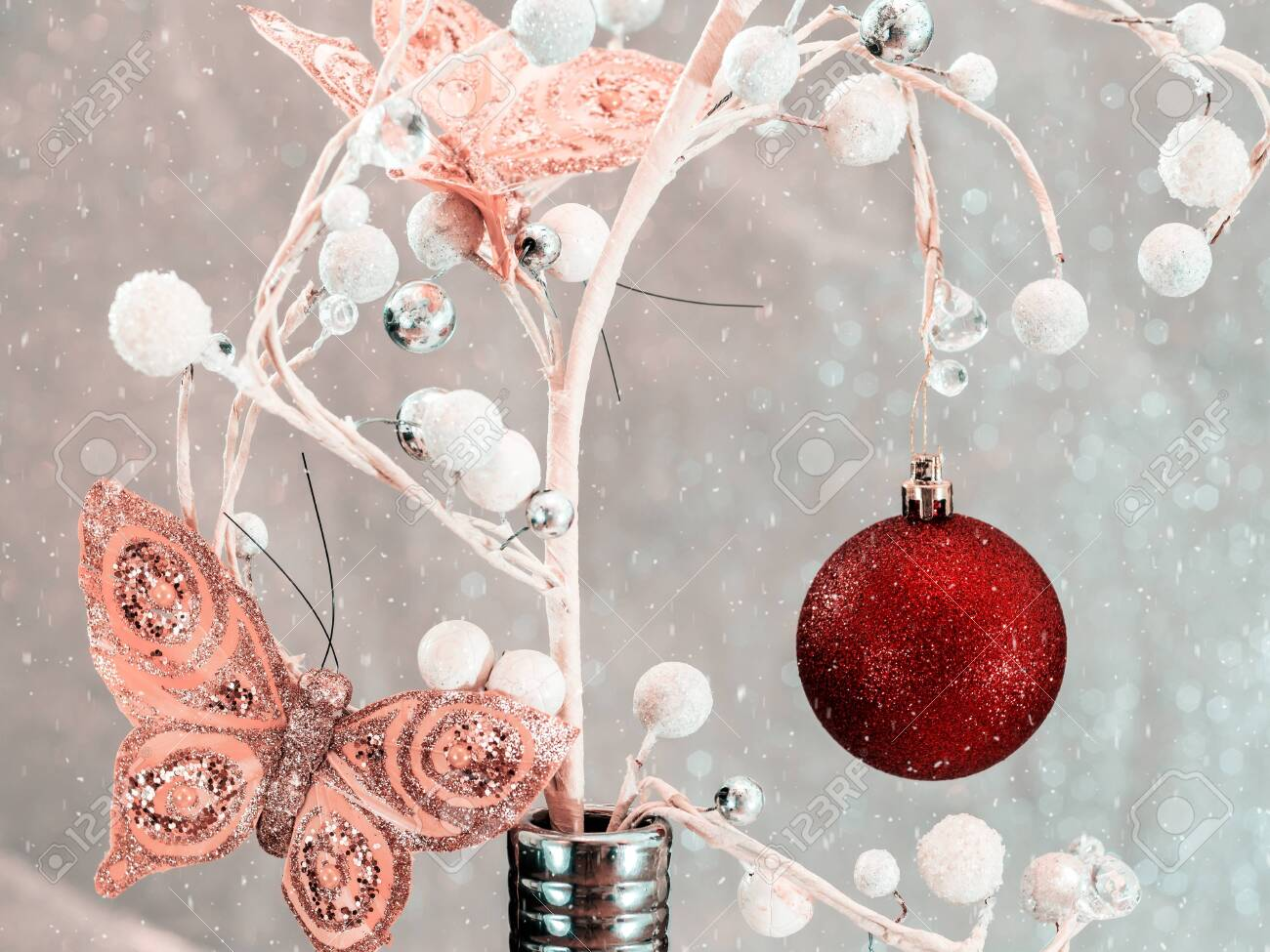 Fir tree decoration. New Year 2020. Light background. New Year..