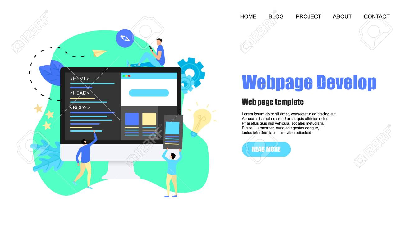 Webpage Template Creative Webpage Development And Web Design Royalty Free Cliparts Vectors And Stock Illustration Image 123877216