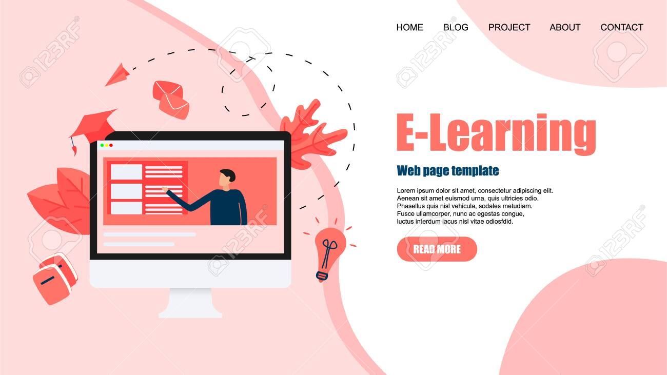 Webpage template with Online education or web course with distance