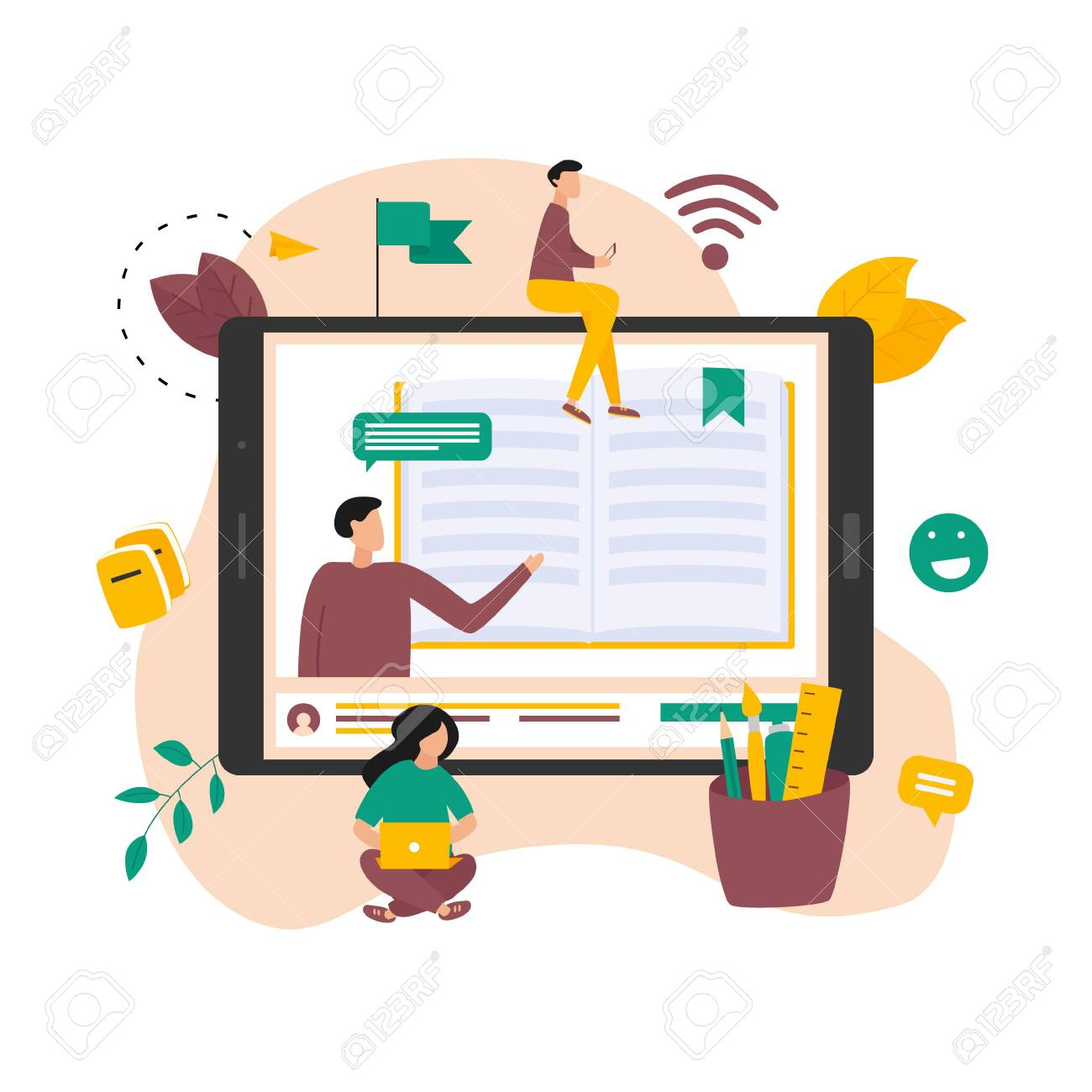 Online education, home schooling and e-learning concept. Online learning at home in social distancing COVID-19. Vector illlustration - 152781127