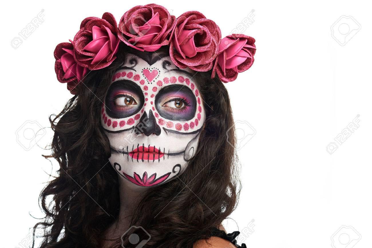 Catrina Schedel Make Up Voor Halloween Geïsoleerd Op Een Witte