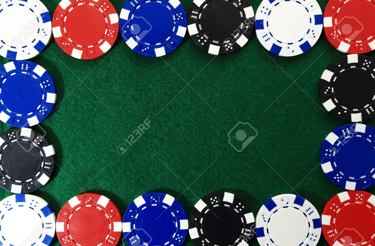 Frame Of Poker Chips On Green Background. Free Space For Text ...