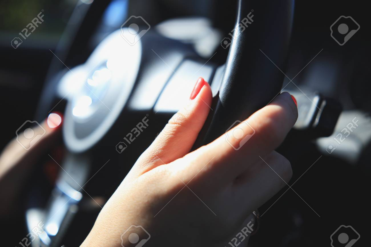 Woman Driving Background Woman Hands With Red Nails On Steering Stock Photo Picture And Royalty Free Image Image 79633107