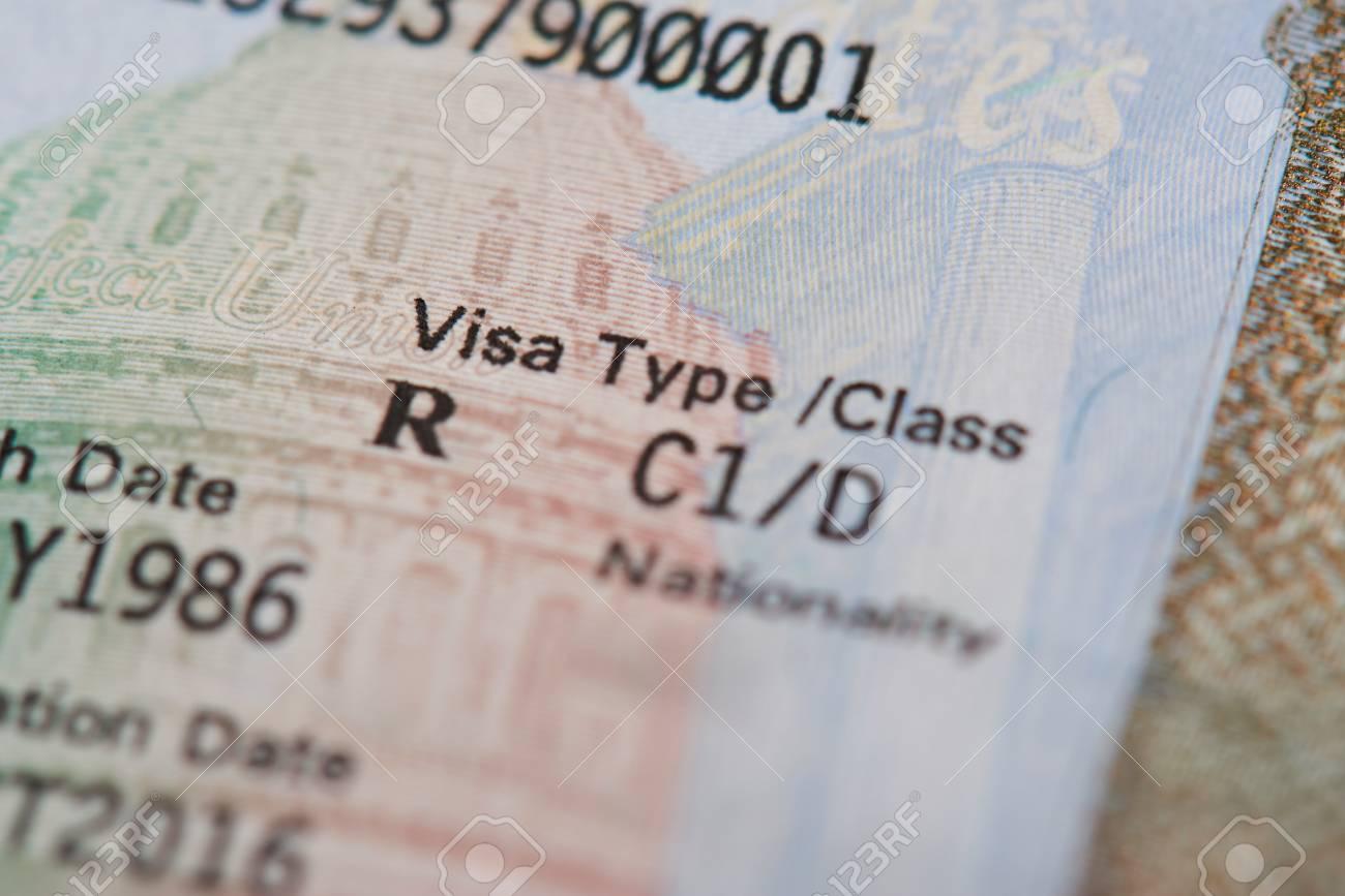 Macro of american visa type on passport page