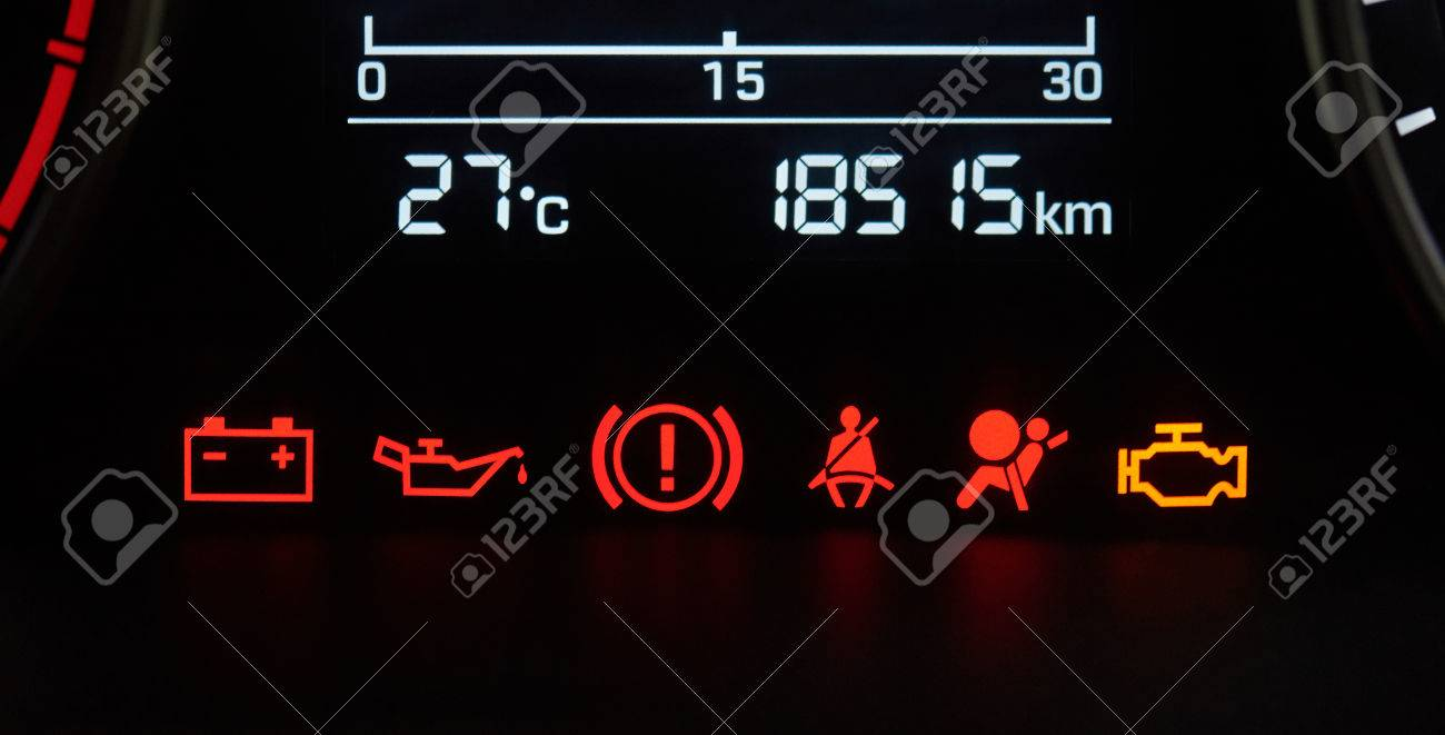 Car dashboard icons close-up. Error vehicle signs - 84159331