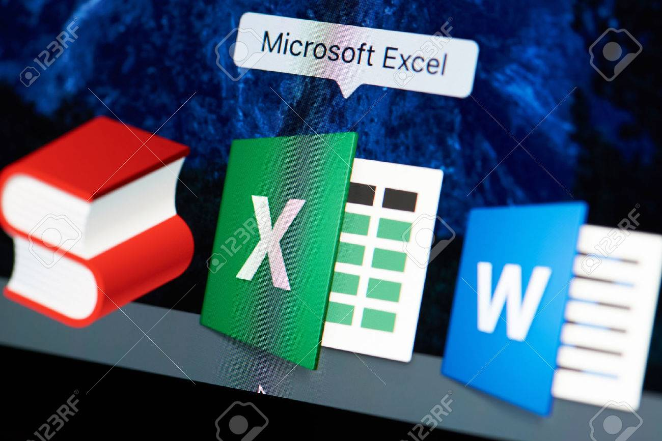 New york, USA - August 18, 2017: Microsoft excel icon on laptop screen close-up. Microsoft excel starting application - 84380235