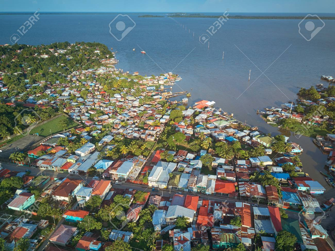 Port In Bluefields Nicaragua Aerial Drone View Stock Photo ...