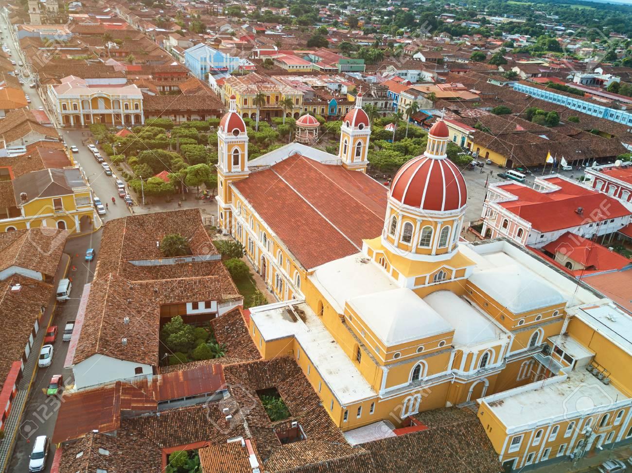 Streets in Granada city Nicaragua aerial drone view - 87589974