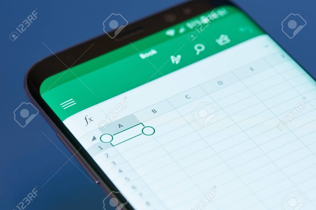 New york, USA - February 13, 2018: Excel moblie menu application menu on smartphone screen close-up. Using Excel apps moblie menu - 101834469
