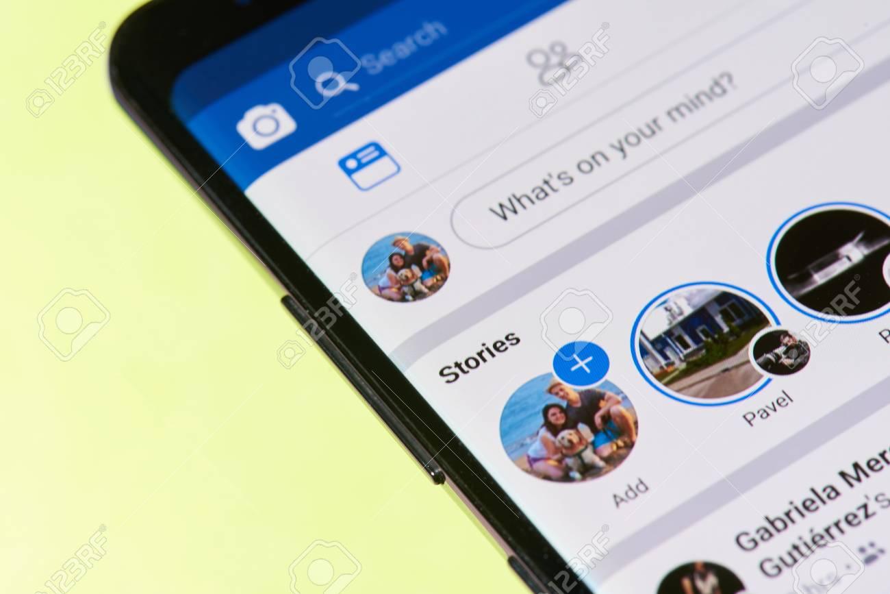 New york, USA - April26, 2018: Facebook stories menu on smartphone screen close-up - 101835011