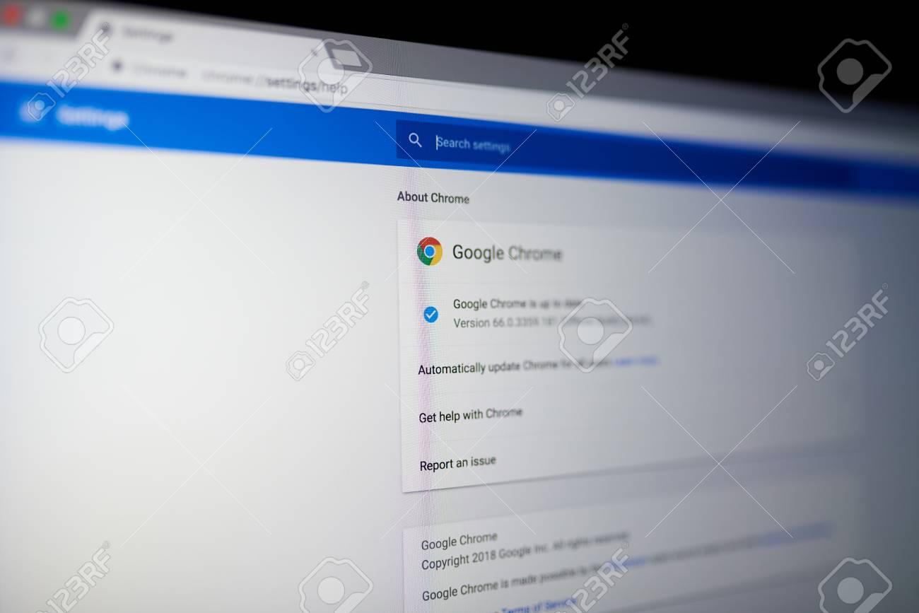New york, USA - May 25, 2018: Google chrome internet browser menu on laptop screen close up - 103566407