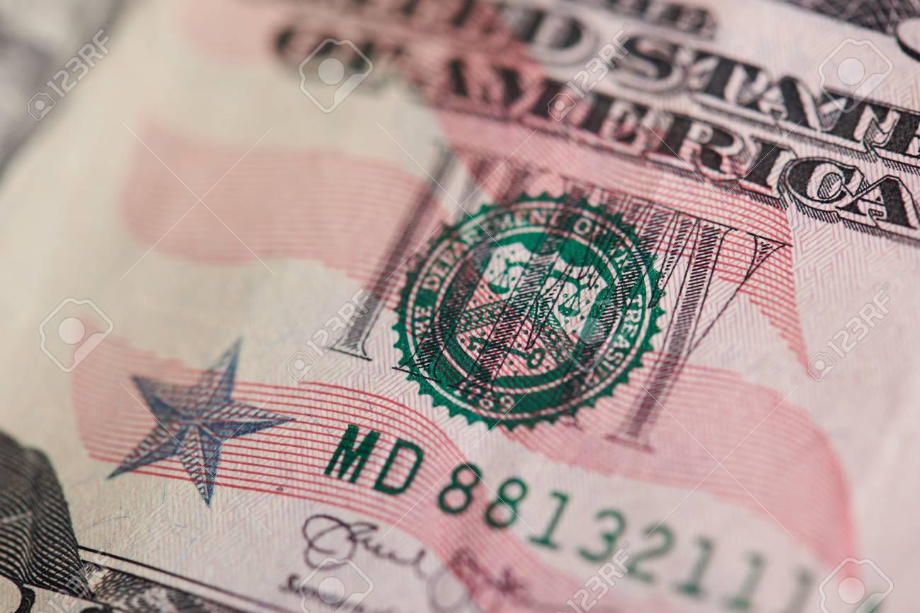 Stamp On Fifty Dollar Bill Close Up View USA Theme Standard Bild