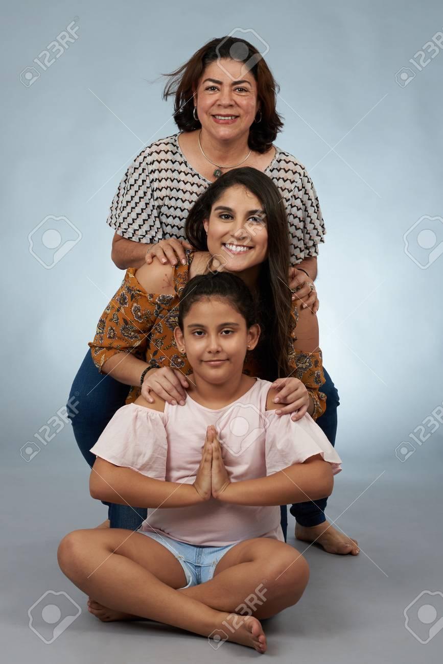 Portrait Of Family Generation Isolated On Studio Background Stock