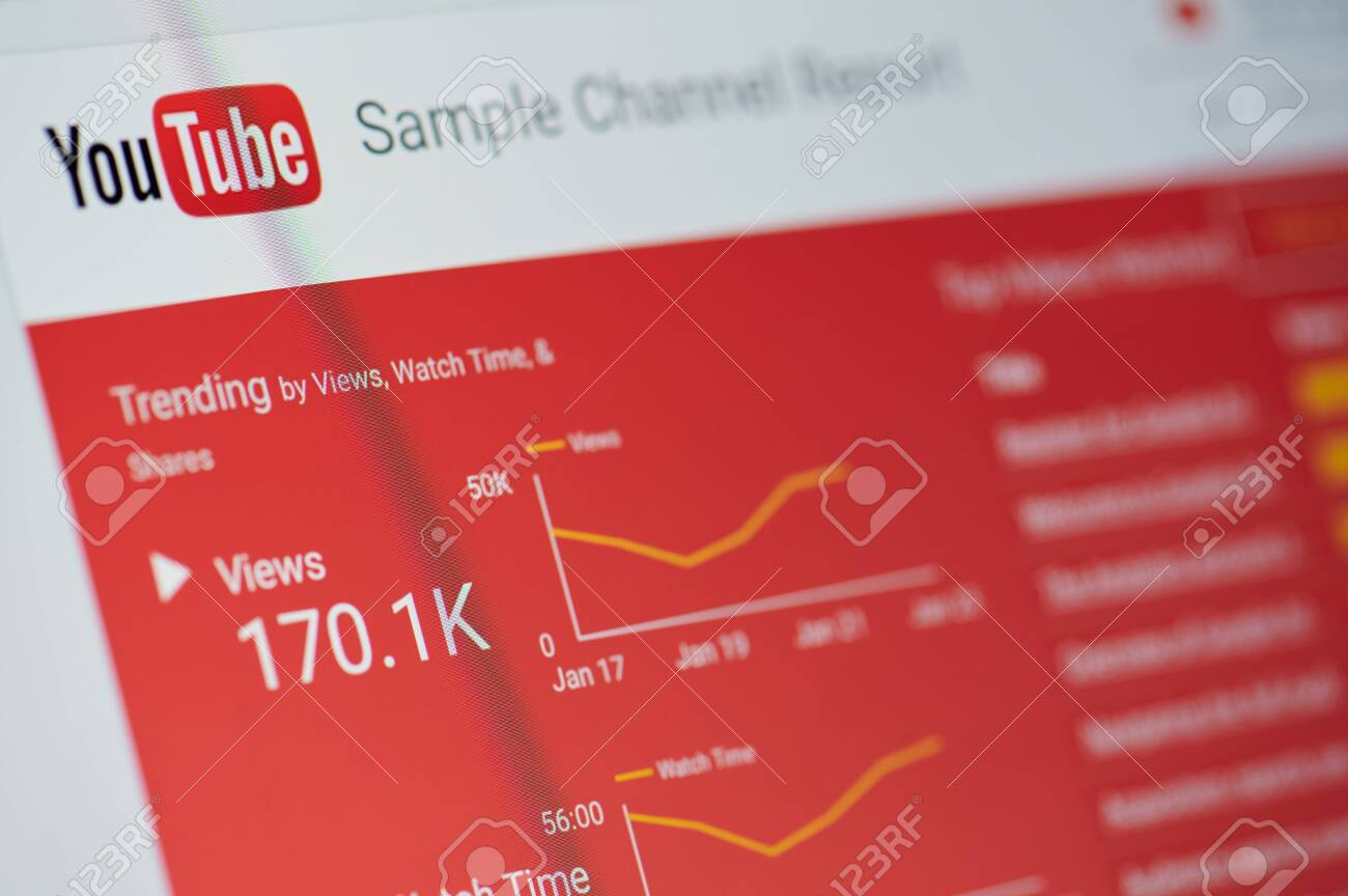 New york, USA - january 24, 2019: Youtube sample channel report menu on device screen pixelated close up view - 121444472