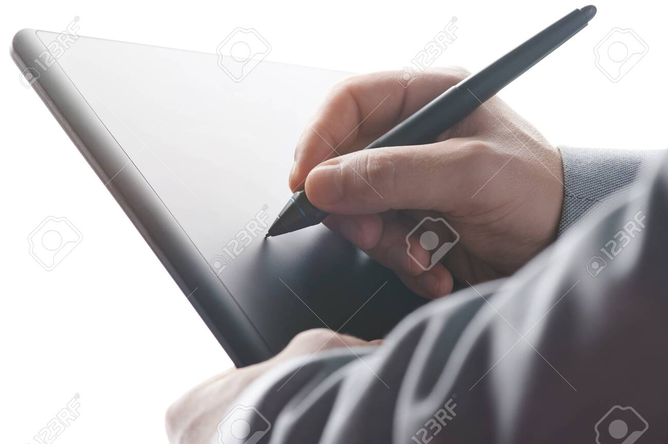 Putting electronical signature with tablet close up view - 134451232