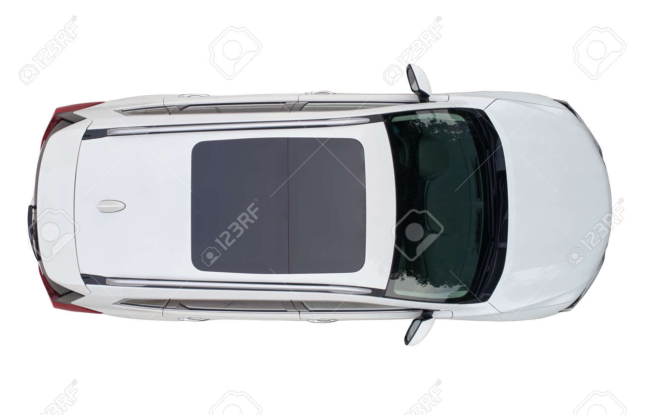 Modern white suv car with sun roof isolated above top drone view - 151997155