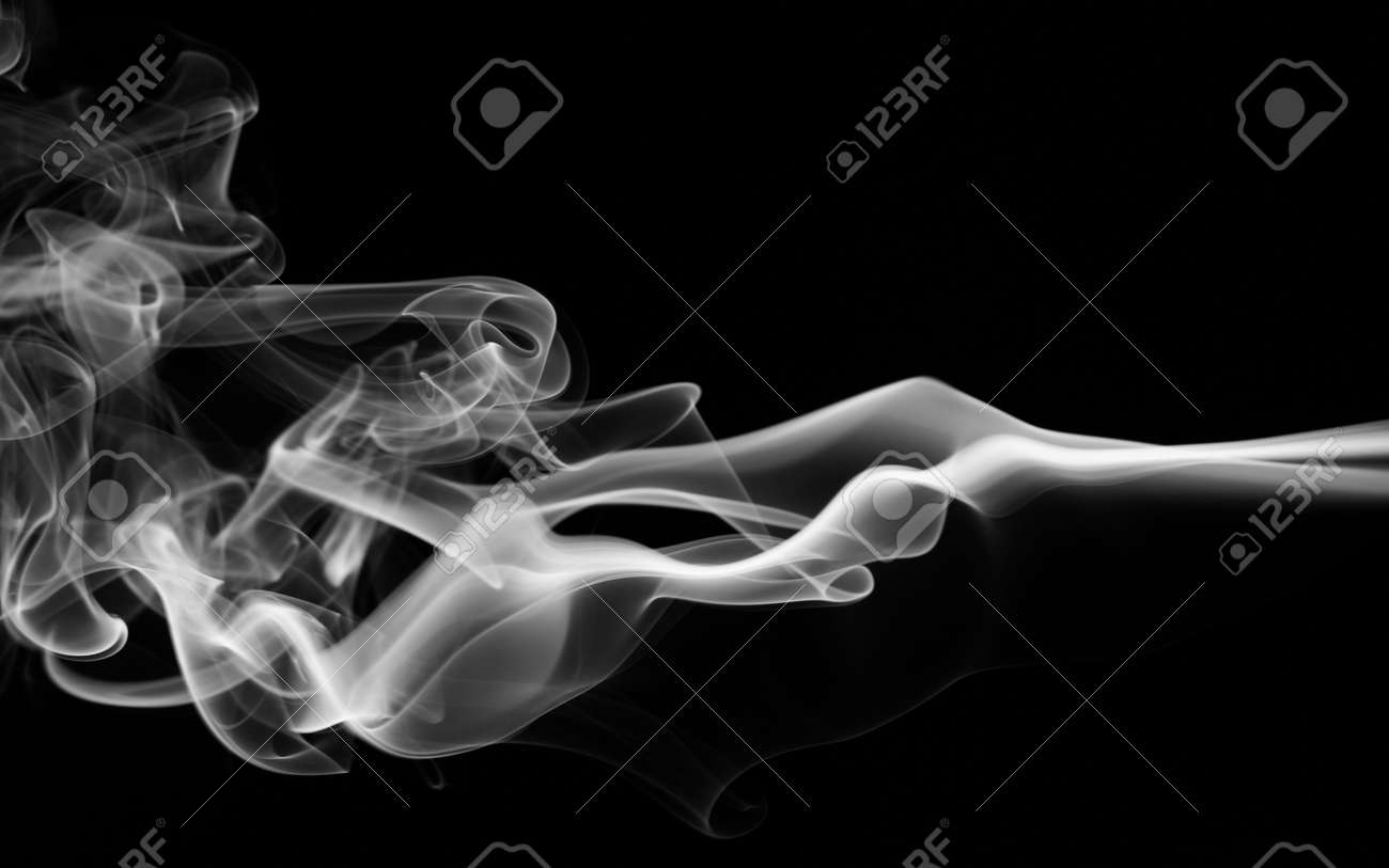 Curly smoke abstract background black and white color - 171211468