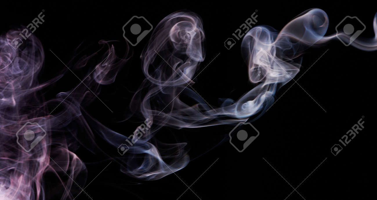 Purple blue smoke flow on black isolated background. Abstract wallpaper - 171542750
