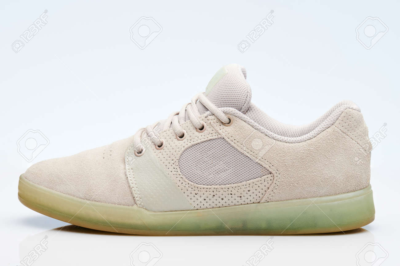 One gray casual sneaker shoe side view isolated - 171666692
