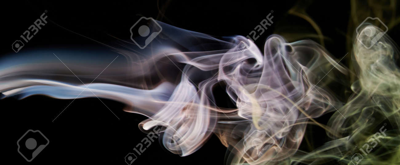 Smoke transparent pink banner lines on black background. Abstract curves - 171666702