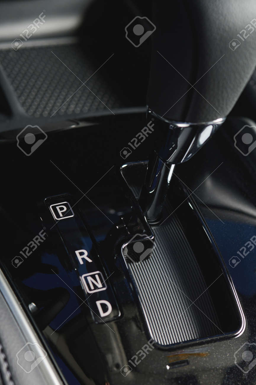 Car gear stick in park position close up view - 171666804