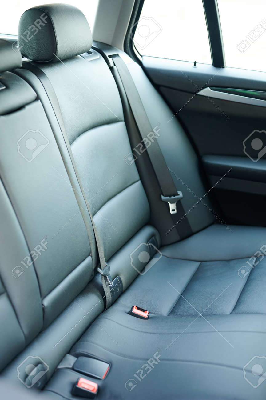 Clean comfortable leather back car seat close up view - 171863486