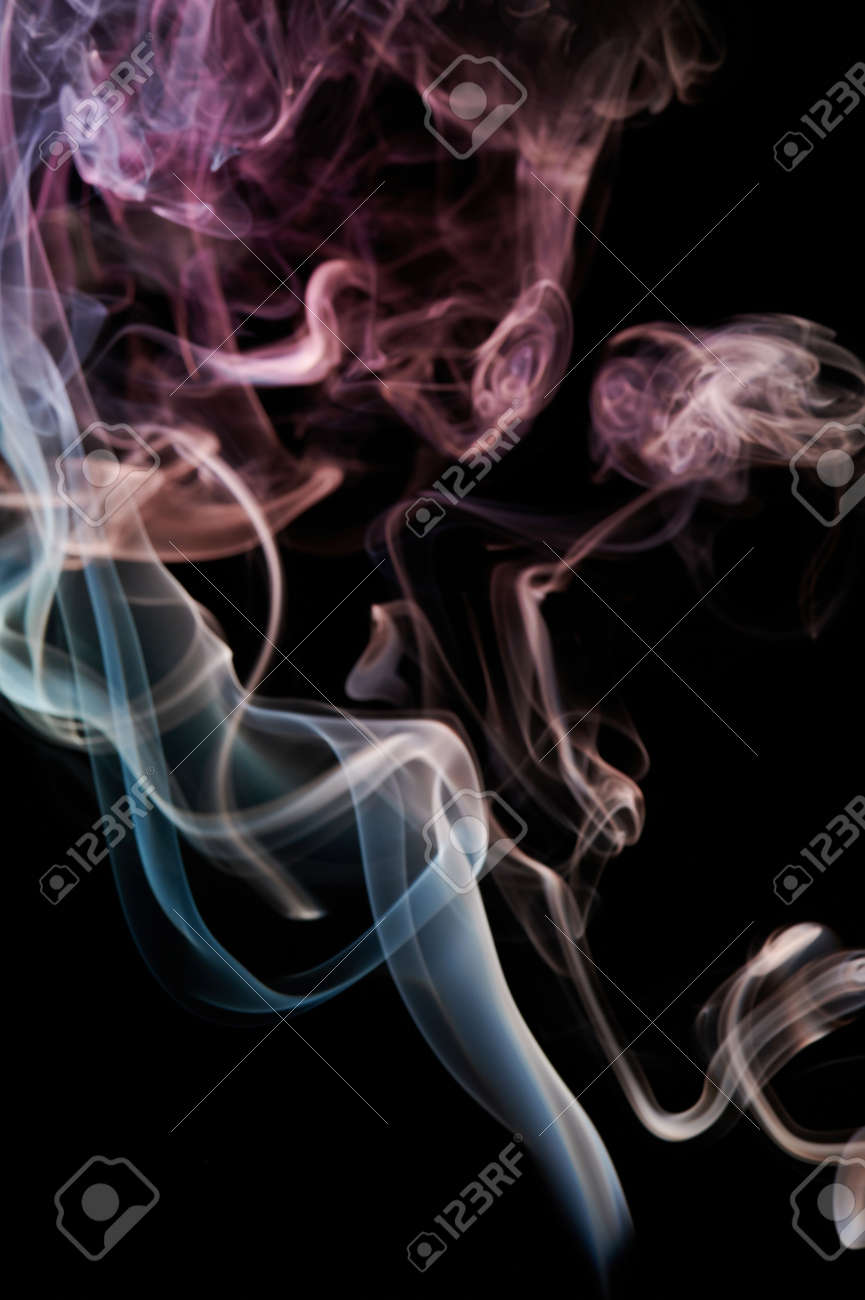 Smoke transparent color lines on black background. Abstract wallpaper - 171896311