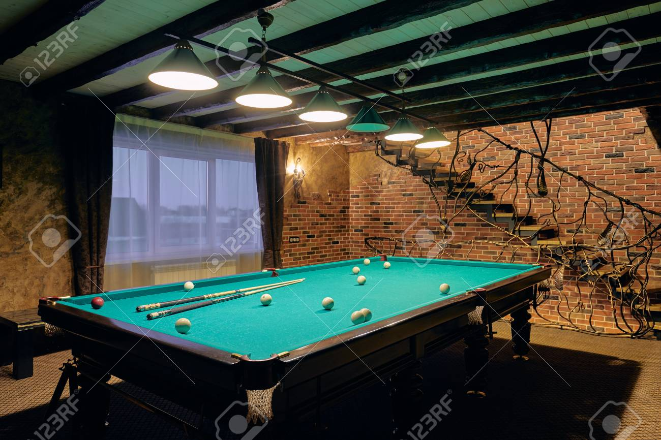 Interior Of A Luxury Living Room With Billiard Table Stock Photo Picture And Royalty Free Image Image 118934918