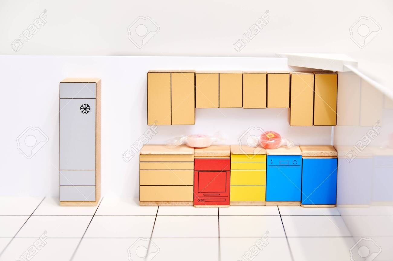 3d Kitchen Design Modeling Interior Cardboard Shapes Stock Photo Picture And Royalty Free Image Image 137684357